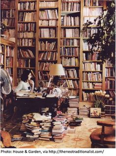 Nigella Lawson, cookbook author and Food Network celebrity, in her home library.