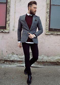 グレージャケット×ボルドーケーブル編みセーターの着こなし(メンズ) | Italy Web Smart Casual Men, Stylish Men, Casual Chic, Suit Fashion, Mens Fashion, Fashion Outfits, Gray Jacket, Jacket Style, Business Fashion