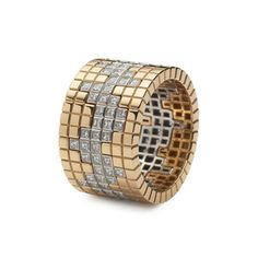 Francesca Grima - Rings - Stackable Pixel Ring set Yellow/Diamond/Yellow