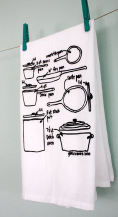 pots+and+pans+diagram+dish+towel++cotton+floursack+by+girlscantell,+$14.00