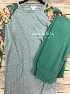 Here's a great outfit for the teens in your life! XXS LuLaRoe Randy baseball tee paired with green LuLaRoe Tween leggings. Click to join my Facebook group and check out all that I have available.