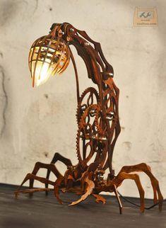 Wood Shop Projects, Metal Projects, Laser Cut Lamps, Cnc, 3d Modelle, Scrap Metal Art, Steampunk Lamp, Wooden Lamp, Unique Furniture