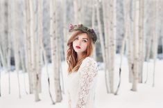winter,fashion, fine art, flower crown, lace dress, portrait, red lips, red hair, snow, arizona, canon, 5d, 85mm, natural light. photography