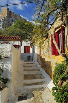 Anafiotika in the district of Old Plaka District, Athens-Greece Greece Tours, Greece Travel, Mykonos, Santorini, Beautiful World, Beautiful Places, Paradise On Earth, Acropolis, Athens Greece