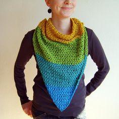 Yellow Mustard Blue Green Triangle Scarf / 100% Cotton Crochet Neckwarmer / Fall Winter Striped Neckwear / Fashion Accessories Gift Idea