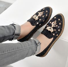 Fashion Cat Shoes Womens Grils Platform Espadrilles Casual Flat Shoes Cute Glitter Metal Slip On Loafers Boat Shoes Black Gray