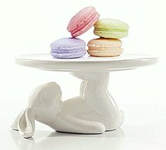 Ceramic Plates Cupcake Stand for Desserts and Cookies, 6.6 Inch White, Kitchen Decor, Bunny Easter Decorations