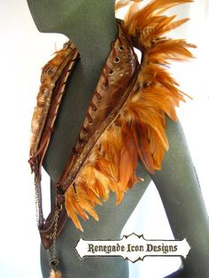Feather collar leather collar feather neckacel by Renegadeicon