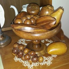 Vintage Wooden Compote Pedestal Dish with 9 pieces of Hand Carved Wooden Fruit by SherrieLewisTreasure on Etsy