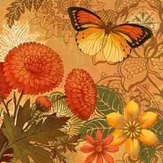 Autumn Botanical Orange Mum by Jennifer Brinley | Ruth Levison Design