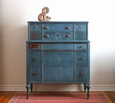 Poppyseed Creative Living: Blue Tall Boy Dresser - another milk paint project