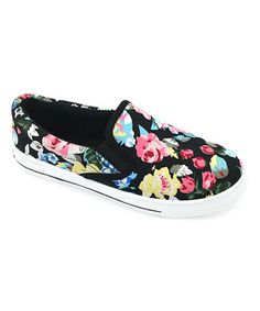 Another great find on #zulily! Black Floral Slip-On Sneaker #zulilyfinds