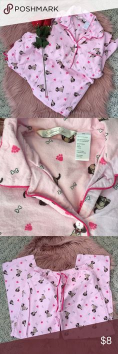 Jasmine Rose Intimates Pajama Set Size medium! Washed and slightly pilled. Comes with button up top and pants with brown dogs on them! jasmine rose Intimates & Sleepwear Pajamas