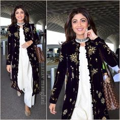 Gorgeous Shilpa Shetty snapped at the airport today Indian Gowns, Indian Attire, Pakistani Dresses, Indian Wear, Indian Outfits, Kurti Designs Party Wear, Kurta Designs, Blouse Designs, Stylish Dresses