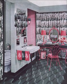 1951 Armstrong Pink & Green Bathroom.  I have this sink.  In white AND pink.  1951, what what.