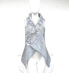 Grey Wool Nuno Felt Vest Australian Superfine by juliaheartfelt, $149.00