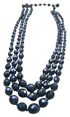 Vintage Jet Crystals multi strand necklace - $175.