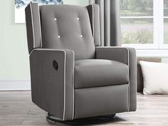 Manual Recliner Chair - Swivel Push Back Reclining Armchair - Polyester Upholstery Living Room Chair (Gray Microfiber) Best Recliner Chair, Swivel Recliner Chairs, Glider Recliner, Chair Cushions, Armchair, Living Room Upholstery, Living Room Chairs, Dining Chairs, Lounge Chairs
