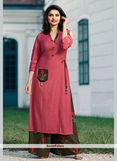 Steal the hearts away with this rayon party wear kurti. The stunning fancy work all through the dress is awe inspiring. (Slight variation in color, fabric & work is possible. Model images are only representative. Plain Kurti Designs, Simple Kurti Designs, Salwar Designs, Kurta Designs Women, Kurti Designs Party Wear, Blouse Designs, Lehenga Designs, Pink Kurti, Palazzo With Kurti