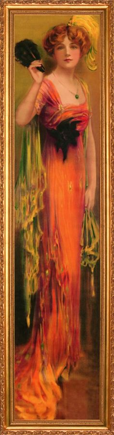 """This site says that this painting is titled, """"Autumn Beauty"""", and says it was done by a Victorian artist.  I have to wonder if it is a C. Allan Gilbert, it certainly looks like it could be.  It reminds me a lot of my favorite of his, """"Ruby""""."""
