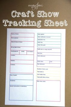 Love this tracking sheet. Such a simple, effective way to record each show. Craft Show Tracking Sheet from Crafty Staci Craft Fair Displays, Craft Show Booths, Craft Show Ideas, Display Ideas, Fall Craft Fairs, Vendor Displays, Art And Craft Shows, Display Case, Craft Font