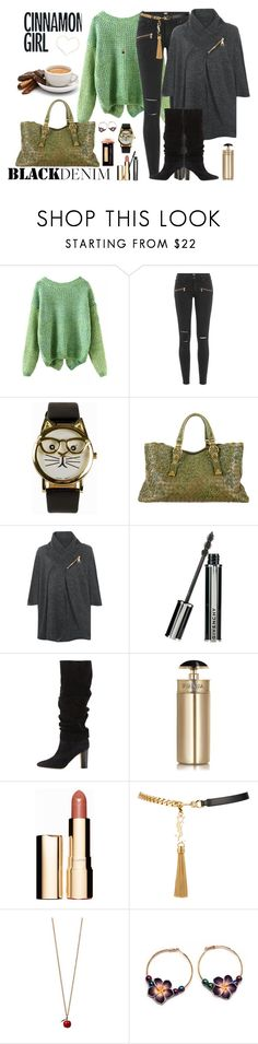 """Trend: Black Denim"" by winscotthk ❤ liked on Polyvore featuring Paige Denim, JFR, Bottega Veneta, WearAll, Givenchy, Manolo Blahnik, Prada, Clarins, Yves Saint Laurent and women's clothing"