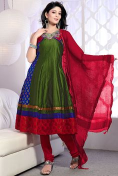 Green churidar kameez with dupatta.      Style - Long Anarkali.      Fabric - Brocade.      Work - Diamond, Sequins, Stone, Cut Dana, Patch work, Resham and Brocade Border patch work.      It is paired with a matching bottom along with a fabulous dupatta. $111.88