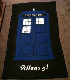 "Doctor Who TARDIS ""Allons-y!"" crochet blanket - PATTERN ONLY"