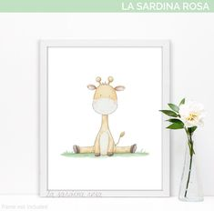 Cute baby Giraffe print for Jungle nursery decor