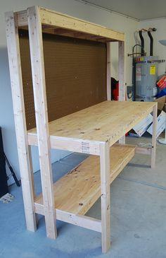 Garage Workbench Plans, Building A Workbench, Workbench Designs, Woodworking Bench Plans, Woodworking Workbench, Woodworking Projects Diy, Wood Shop Projects, Home Projects, Diy Garage Storage