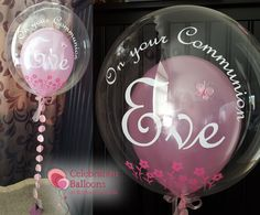 Beautiful Communion Bubble Balloon from www.balloonsleeds.com Clear Balloons, Bubble Balloons, Holy Communion Cakes, First Holy Communion, Christening Balloons, The Balloon, Balloon Ideas, Balloon Pictures, Celebration Balloons