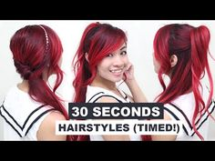 30 Seconds Hairstyles (TIMED!) l Running Late Hairstyles l Quick & Easy Hairstyles for School - YouTube