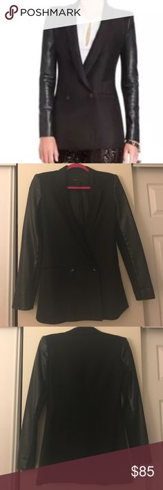 BCBG Max Azria double breast blazer with leather Size extra small - a closet staple! Goes with everything dress it up or dress it down. In great condition a little light pilling on the fabric part and hard to capture on photo otherwise excellent used condition BCBGMaxAzria Jackets & Coats Blazers