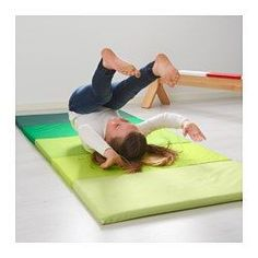 PLUFSIG Folding gym mat, green - IKEA- for playing in the basement during the winter
