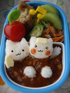 Curry Bathing Cats Kyaraben Bento