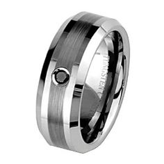 8mm 1 one Stone Black Diamond Bezel Cobalt Free Tungsten Carbide COMFORT-FIT Wedding Band Ring for Men and Women (Size 8 to 12) - Size 9 - http://finejewelrygalleria.com/jewelry/wedding-anniversary/8mm-1-one-stone-black-diamond-bezel-cobalt-free-tungsten-carbide-comfortfit-wedding-band-ring-for-men-and-women-size-8-to-12-size-9-com/