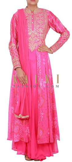 Buy Online from the link below. We ship worldwide (Free Shipping over US$100) http://www.kalkifashion.com/catalog/product/view/id/14814/s/pink-bandhani-anarkali-embellished-in-zari-and-gotta-patti-only-on-kalki/
