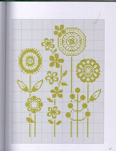 flowers - this would make a great baby blanket or wall hanging! Simple Cross Stitch, Cross Stitch Flowers, Modern Cross Stitch, Cross Stitch Charts, Cross Stitch Designs, Cross Stitch Patterns, Cross Stitching, Cross Stitch Embroidery, Embroidery Patterns