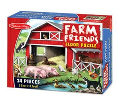 """Farm Friends Floor Puzzle by Melissa & Doug  Young farm lovers will enjoy assembling this 2' x 3' cardboard puzzle. Only 24 pieces, this puzzle is full of farm animal families to identify and count. Its extra-thick pieces and easy-clean surface keep puzzle looking new.  Dimensions: 36""""L x 24""""W Assembled  Ages: 3+ years   $14.00"""
