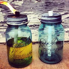 Mason Jar Citronella Candle Antique Blue by DownInTheBoondocks, $25.00