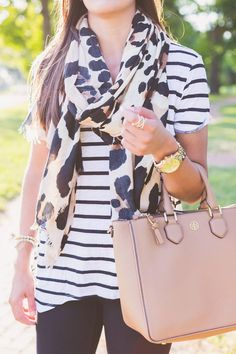 e95084f0faec This post is all about pattern mixing with a leopard print scarf  that s on  sale  and an oversized stripe tee!