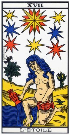 22 Major Arcana of tarot - the Star: Tarot of Marseille Interpretation of the Star tarot trump: What does it mean when you draw the Star card from the Tarot of Marseille? Le Tarot, Tarot Significado, Witch Powers, Star Tarot, Numerology Calculation, Tarot Major Arcana, Tarot Card Decks, Guardian Angels, Astrology