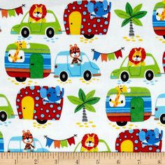 Comfy  Flannel Animal Caravan White from @fabricdotcom  This double napped (brushed on both sides) flannel is perfect for quilting and apparel. Colors include white, red, green, blue, orange, yellow, black, and grey.