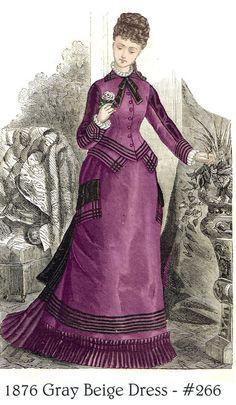 Pattern for Victorian 1876 Gray Beige and Grosgrain Dress 1870s Fashion, Edwardian Fashion, Vintage Fashion, Historical Costume, Historical Clothing, Fashion Illustration Vintage, Victorian Costume, 19th Century Fashion, Victorian Women