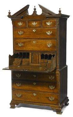 A George II Oak Secretary Chest On Chest, Mid 18th Century.