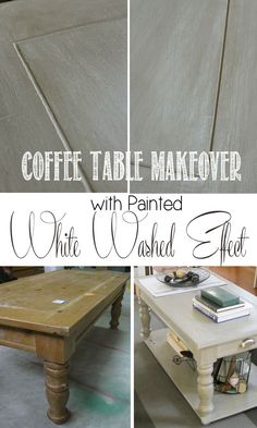 Coffee table makeover with painted white-washed effect