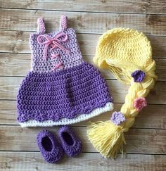 Princess Rapunzel Inspired Costume/ Crochet Rapunzel Wig/Princess Dress/Princess Photo Prop Newborn Size- READY TO SHIP Princess Rapunzel Inspired Costume/ Crochet by mamamegsyarnshoppe Crochet Princess, Crochet Girls, Crochet For Kids, Crochet Baby Costumes, Crochet Baby Clothes, Crochet Outfits, Crochet Crafts, Crochet Projects, Knit Crochet
