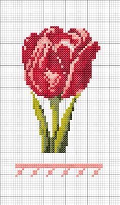 Punto croce - Schemi e Ricami gratuiti: Schema punto croce tulipani