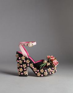 SUEDE BIANCA SANDALS WITH EMBROIDERED FLOWER BROOCHES - Wedges - Dolce&Gabbana - Winter 2015