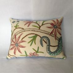 Vintage Wool Crewel Embroidery Throw Pillow Cover by MissusTroutAtHome on Etsy Throw Cushions, Throw Pillow Covers, Chinese Butterfly, Pillow Texture, Retro Fabric, Straight Stitch, Edge Stitch, Crewel Embroidery, Vintage Wool